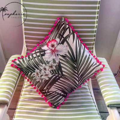 EuphoricThreads Tropical Punch Pom Pom Pillow Cases